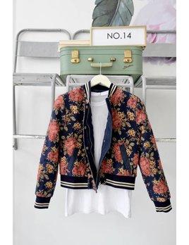 Jacquard Floral Bomber Jacket