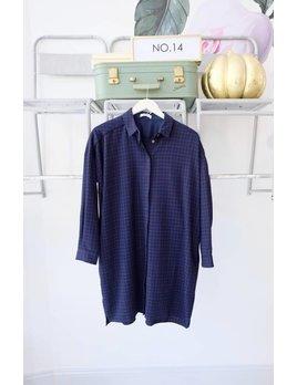 Collared Long Sleeve Shirt Dress