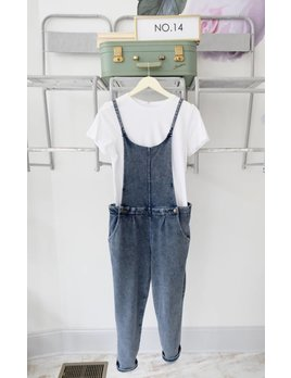 Knit Denim Overalls