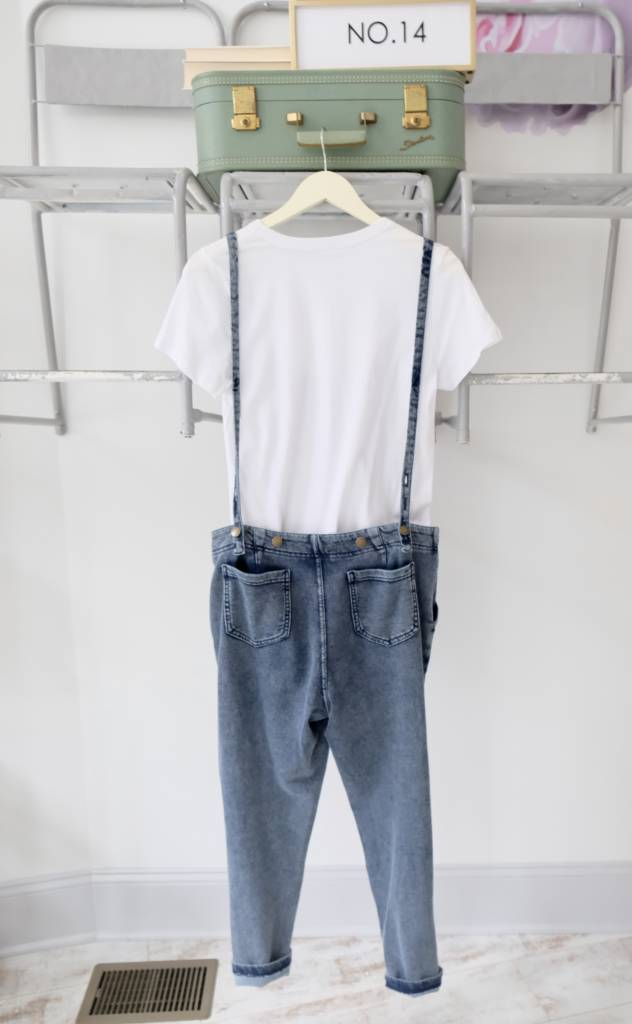 Knit Denim Overalls