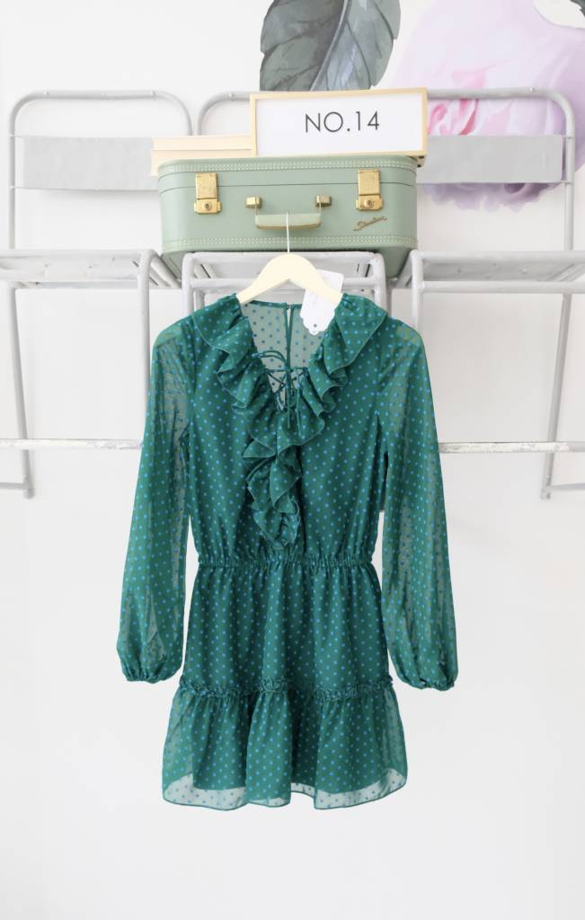 Swiss Dot Lace Up Teal Dress