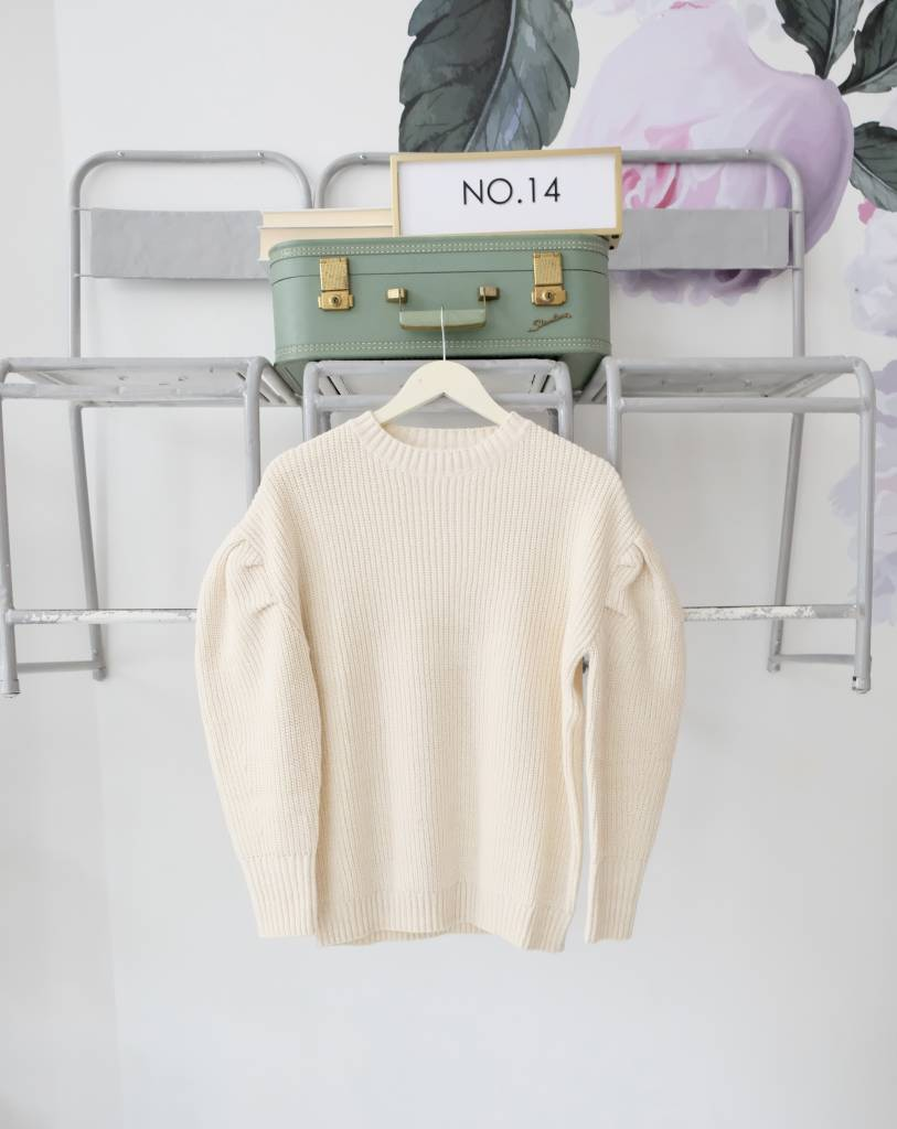 Pleated Bubble Sleeve Sweater