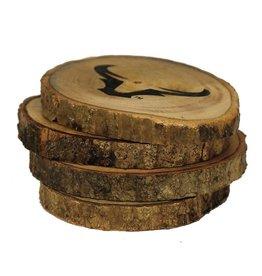 Steer Horn - Log Coaster Set