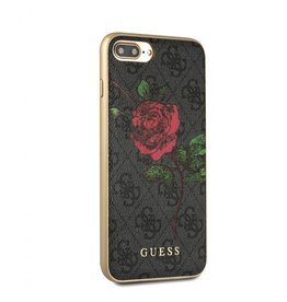 Guess Guess IPhone 7/8+ Red Rose Gray Pattern PU Leather Phone Case (Spring Collection) GUHCI8L4GROG
