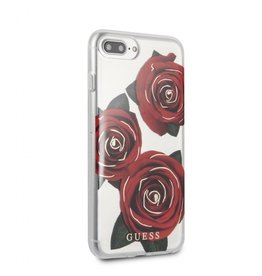 Guess Guess IPhone 7/8+ Transparent Red Rose Hard Phone Case (Spring Collection) GUHCI8LROSTR