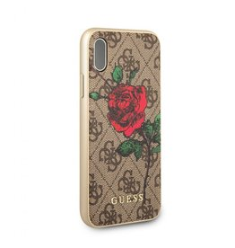 Guess Guess IPhone X Red Rose Brown Pattern Hard Phone Case (Spring Collection) GUHCPX4GROB