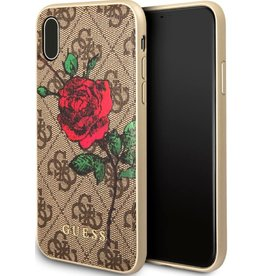 Guess Guess | IPhone X Red Rose Brown Pattern Hard Phone Case (Spring Collection) | GUHCPX4GROB
