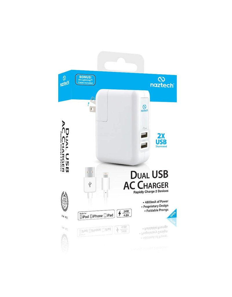 Naztech Chargeur USB Double 4.8A Lightning Blanc