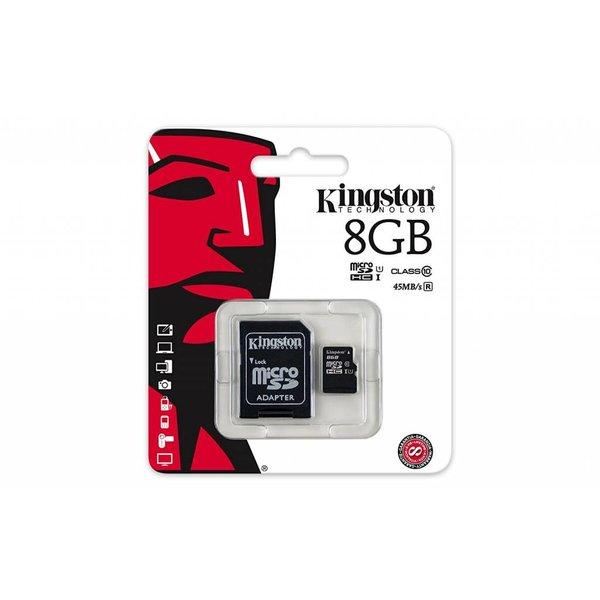 Carte Kingston MicroSD 8Go + Adaptateur
