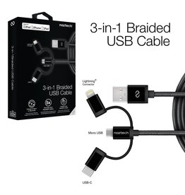 Naztech Naztech Braided 3-in-1 Hybrid USB Cable