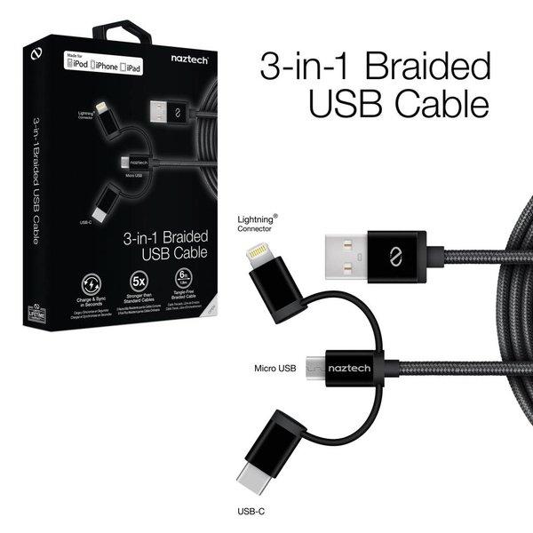 Câble tressé Naztech 3-en-1 - Micro USB - USB-C - Lightning - Livraison rapide partout au Canada!