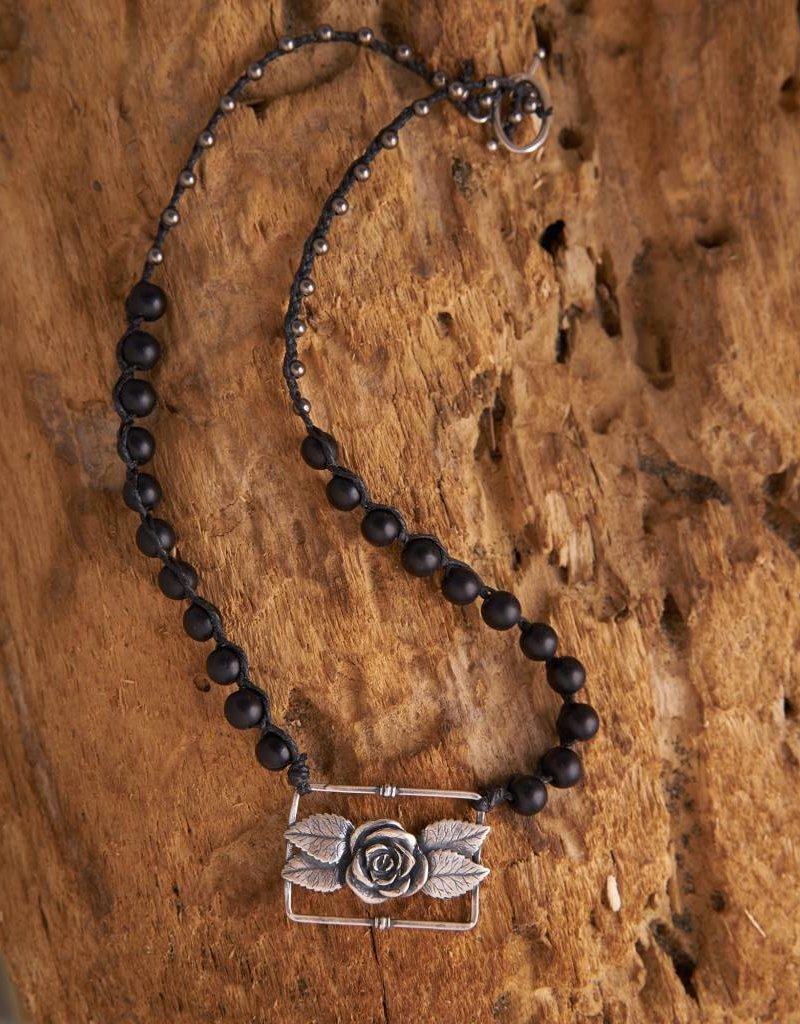 JONAS & MUSE Silver Rose Pendant Necklace