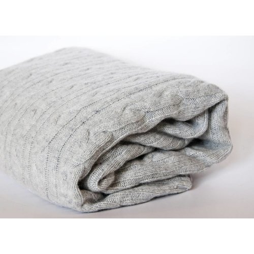 Throw Blanket - Cashmere Cable Rope Stitc knit in Ash