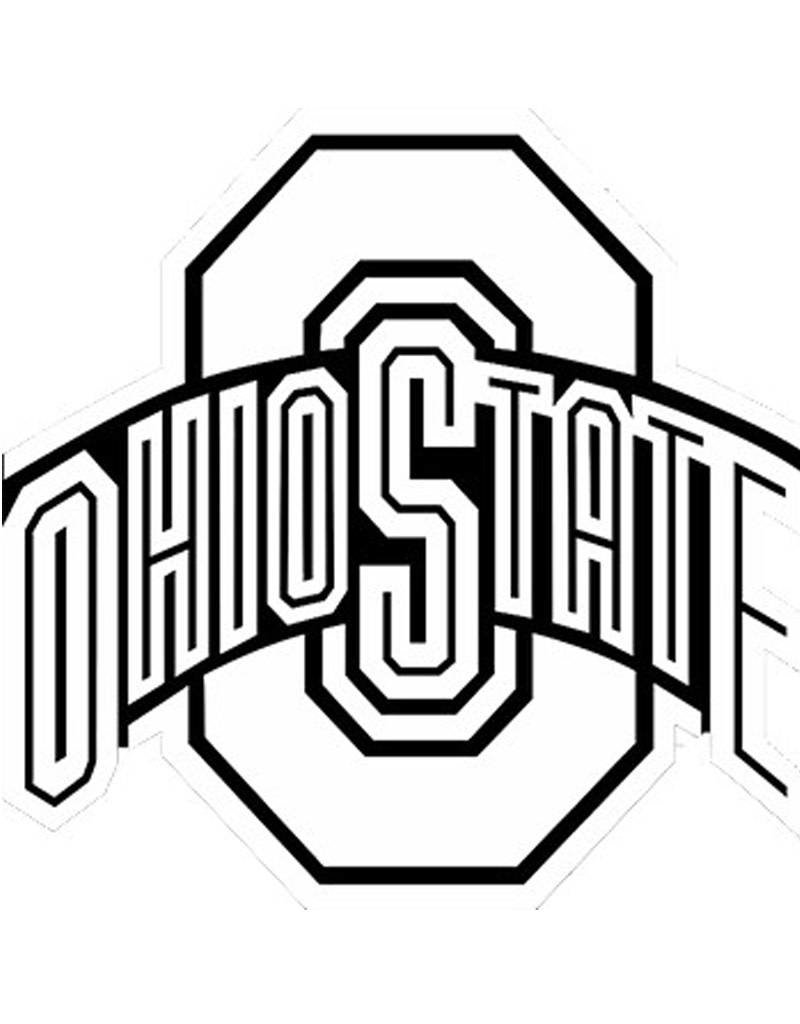Ohio State University Athletic O White with Black Trim Decal