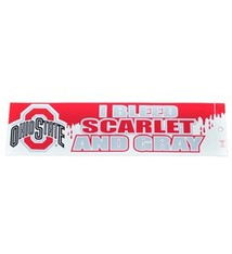 "Ohio State University Full Color ""I Bleed Scarlet And Gray"" Bumper Sticker"