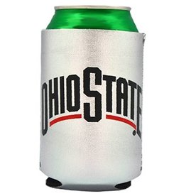 Ohio State University Silver Can Koozie