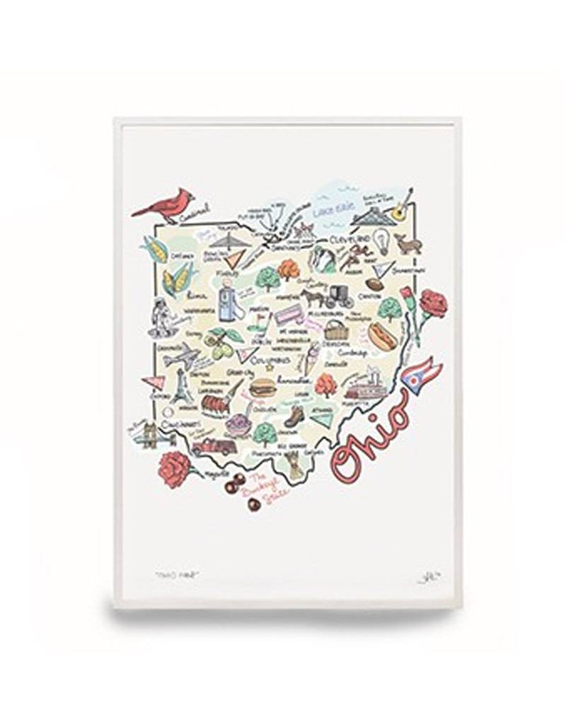 State Of Ohio Themed 9x12 Print