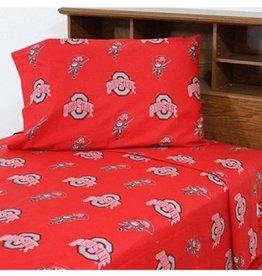 Ohio State University Red Twin Sheet Set