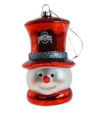 Ohio State University Snowman Glass Ornament