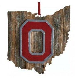 Ohio State University Block O Wooden Ohio Ornament