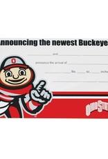 Ohio State University Baby Buckeye Announcement Cards