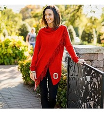 """Gameday Couture Ohio State University """"That's A Wrap"""" Fringe Cardigan"""