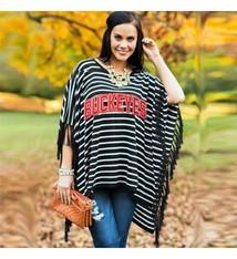 Gameday Couture Ohio State University Fringe Poncho