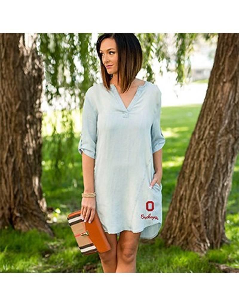Gameday Couture Ohio State University Chambray Denim Dress