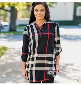 Gameday Couture Ohio State University Plaid But True 3/4 Sleeve Tunic