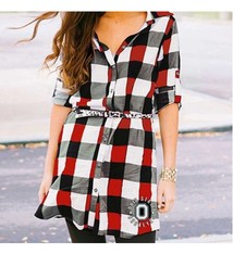 Gameday Couture Ohio State University Plaid Dress with Leopard Belt