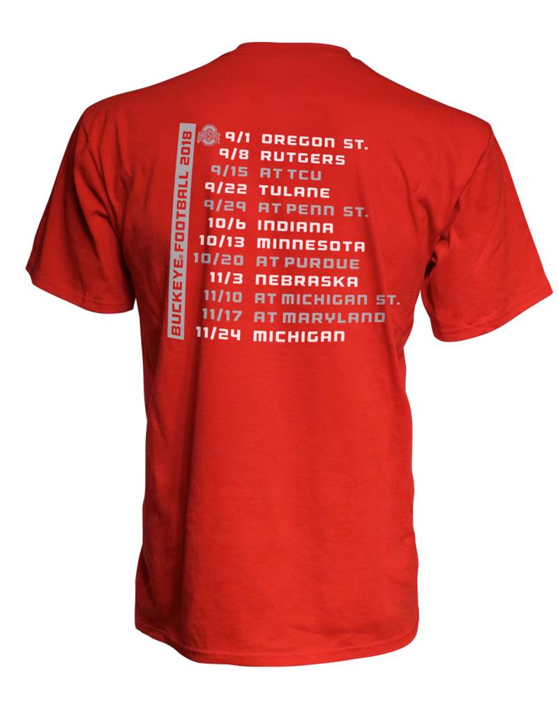Top of the World Ohio State University 2018 Football Schedule T-Shirt