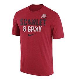 Nike Ohio State University Legend Ignite Scarlet & Gray Tee