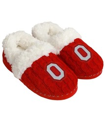 Forever Collectibles Ohio State Buckeyes Women's Fur Moccasin Slippers