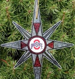 Ohio State Stain Glass Snowflake Ornament