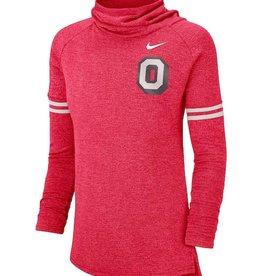 Nike Ohio State Buckeyes Women's Vault Sleeve Striped Funnel Neck Sweatshirt
