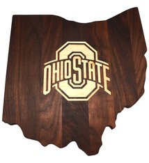 Warther Boards Ohio State Walnut Athletic O Inlay Cutting Board