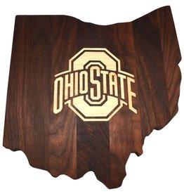 Warther Boards Ohio State Walnut Athletic O Inlay Cutting Board