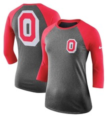 Nike Ohio State Buckeyes Women's Performance Tri-Blend 3/4-Sleeve Raglan T-Shirt