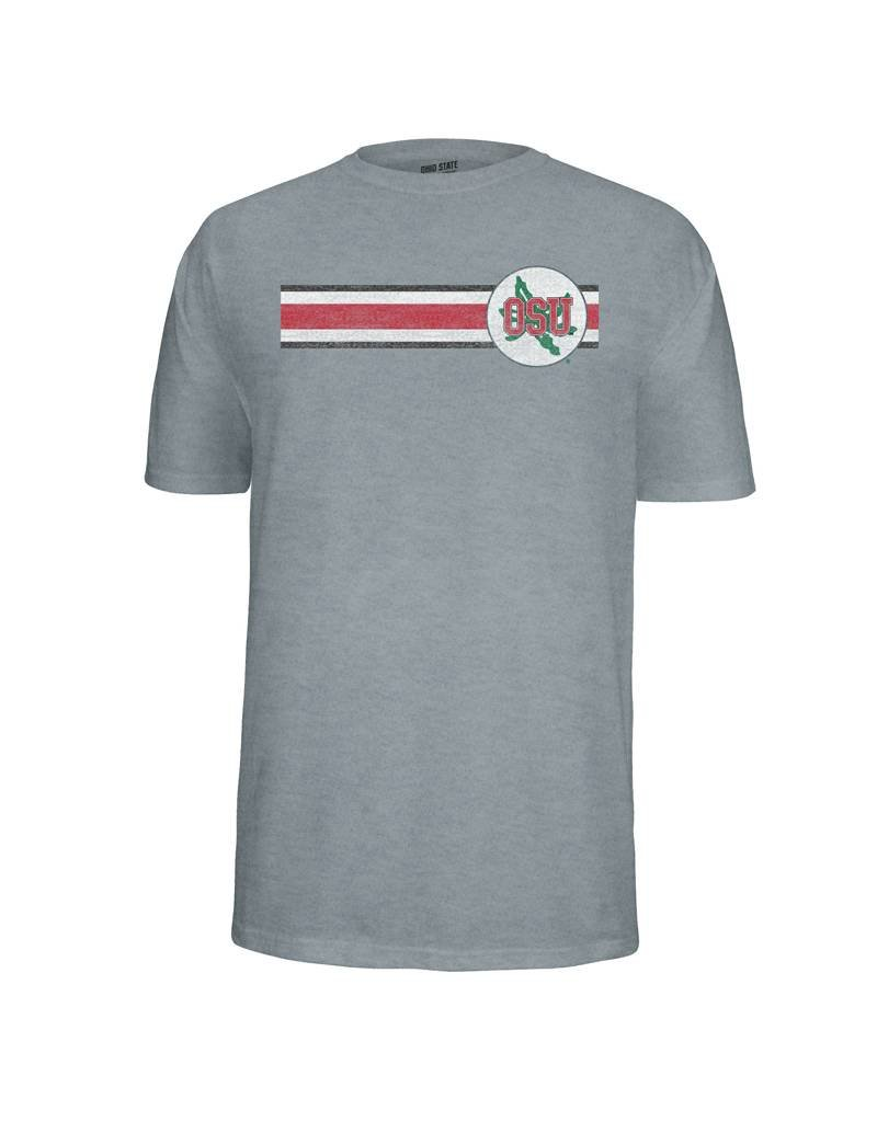 Top of the World Ohio State Stripe Tee With Buckeye Leaf