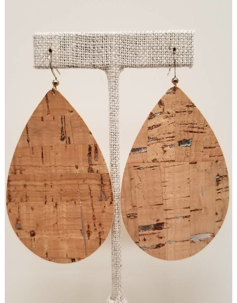 Daring Silver Fleck Cork Earrings