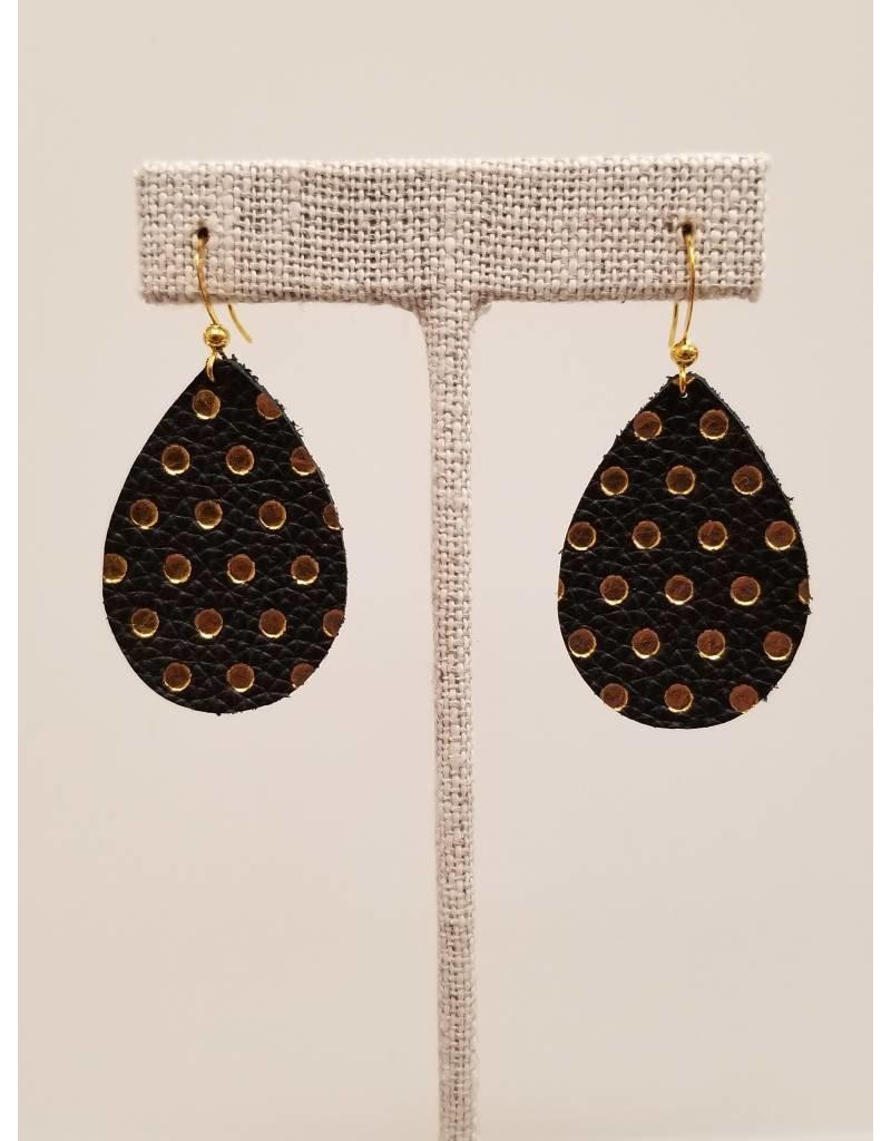 Dainty Black w Gold Polka Dot Earrings