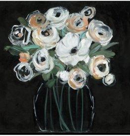 "Toile fleurs fond noir #1 MOONLIGHT ARRANGEMENT I 18"" X 18"""