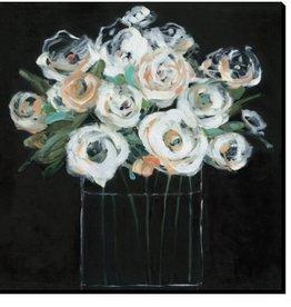 "Toile fleurs fond noir #2 MOONLIGHT ARRANGEMENT II 18"" X 18"""