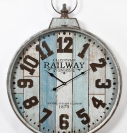 Horloge bois blanc et bleu