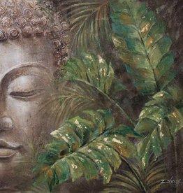 """Toile Bouddha et feuillages 31"""" X 31"""""""