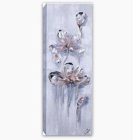 """Toile fond gris blanc avec fleurs roses 19.5"""" X 59"""""""