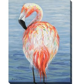 "Toile flamant multi FLAMINGO BY THE SEA 20"" X 28"""
