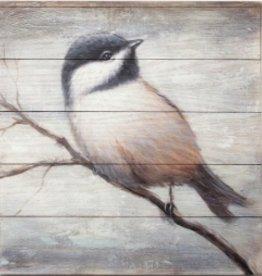 """Peinture oiseau sur bois A 18"""" X 18"""""""