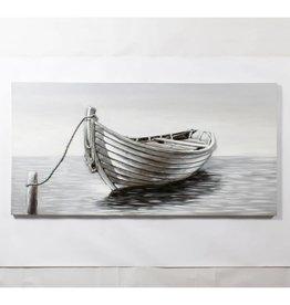 """Toile bateau sur lac gris 3D 28"""" X 55"""""""