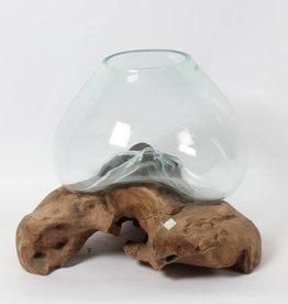 Vase bois et verre moulé Grand